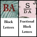 Example of Block Letters vs. Fraciontal Block letters